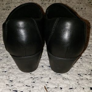 Clarks Shoes - Clark's 8W black leather wedge slip ons